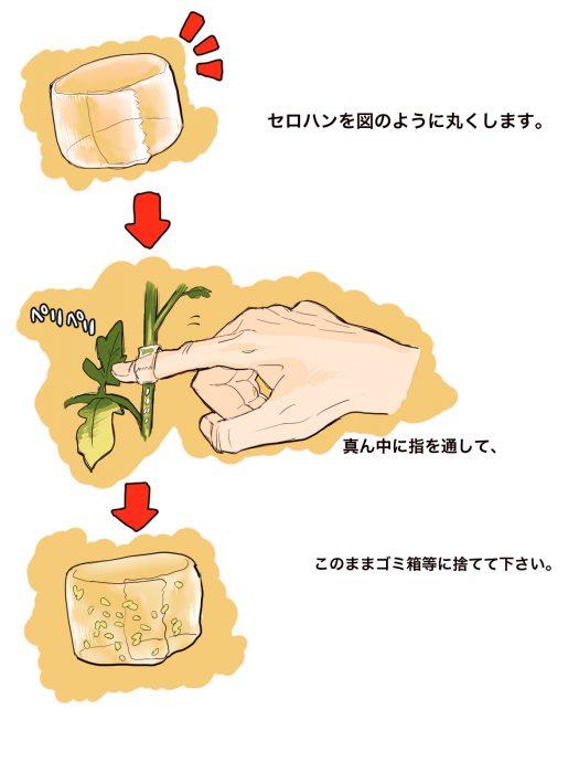 セロハンテープを指輪のようにして、指にはめて苗の茎についたアブラムシをとっているイラスト。