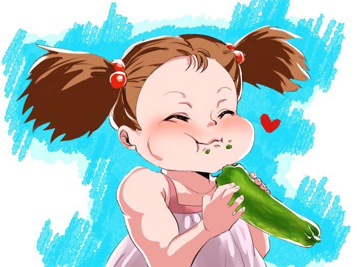 メイが美味しそうに、胡瓜を食べているイラスト
