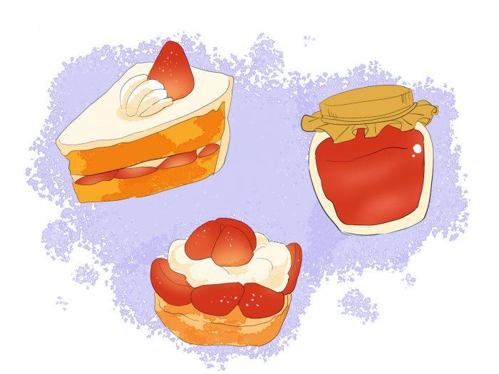いちごのお菓子のイラスト