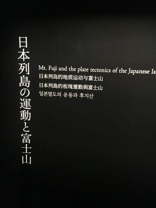 日本列島の運動と富士山の看板写真